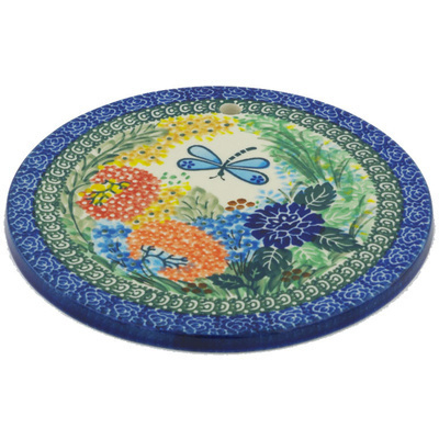"Polish Pottery Cutting Board 7"" Garden Delight UNIKAT"