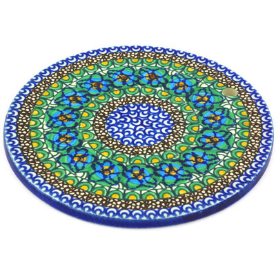 "Polish Pottery Cutting Board 7"" Mardi Gra UNIKAT"