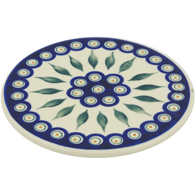 "Polish Pottery Cutting Board 7"" Peacock"