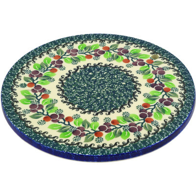 "Polish Pottery Cutting Board 8"" Berry Garland"