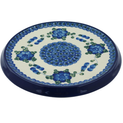 "Polish Pottery Cutting Board 8"" Blue Poppies"