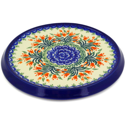 "Polish Pottery Cutting Board 8"" Crimson Bells"
