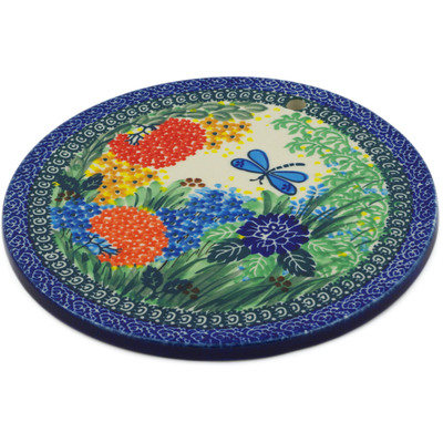 "Polish Pottery Cutting Board 8"" Garden Delight UNIKAT"