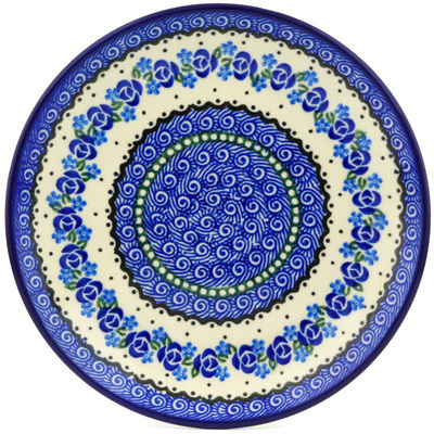 Polish Pottery Dessert Plate Blue Bud Sea