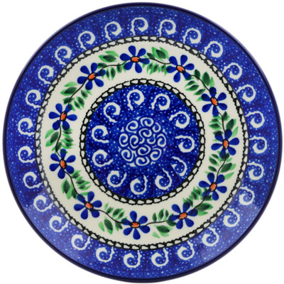 Polish Pottery Dessert Plate Blue Daisy Swirls