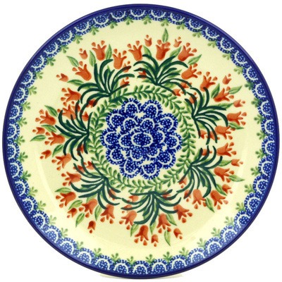 Polish Pottery Dessert Plate Crimson Bells