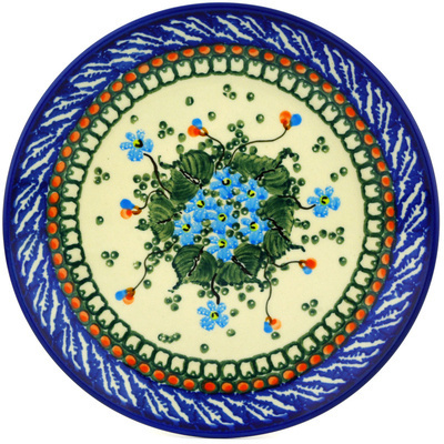 Polish Pottery Dessert Plate Emerald Berries UNIKAT