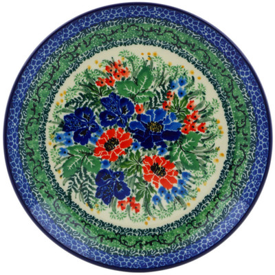 Polish Pottery Dessert Plate Emerald Meadow UNIKAT