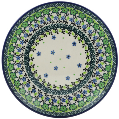 Polish Pottery Dessert Plate Green Chrysanthemums UNIKAT
