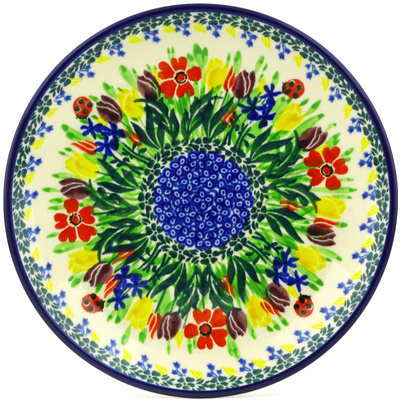Polish Pottery Dessert Plate Lady Bug Tulips UNIKAT
