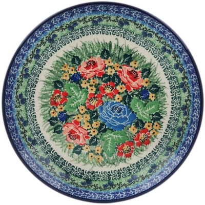 Polish Pottery Dessert Plate Splendid Meadow UNIKAT