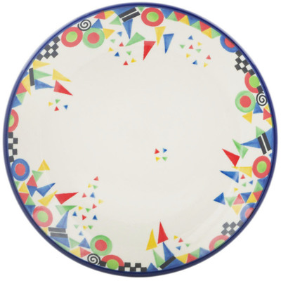 Polish Pottery Dessert Plate Triangles, Circles And Squares UNIKAT