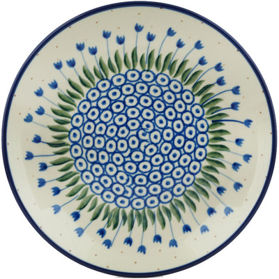 Polish Pottery Dessert Plate Water Tulip