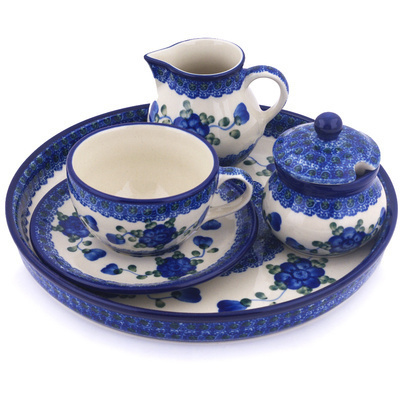 Polish Pottery Dessert Set 8 oz Blue Poppies