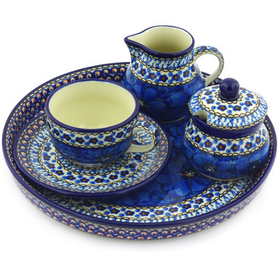 Polish Pottery Dessert Set 8 oz Cobalt Poppies UNIKAT