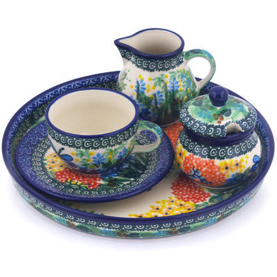Polish Pottery Dessert Set 8 oz Garden Delight UNIKAT