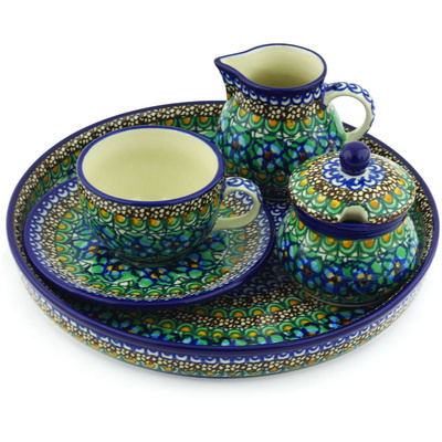 Polish Pottery Dessert Set 8 oz Mardi Gra UNIKAT