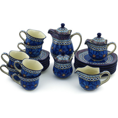Polish Pottery Dessert Set for 6 29 oz Cobalt Poppies UNIKAT