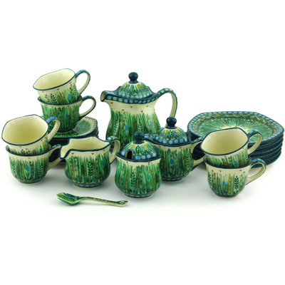 Polish Pottery Dessert Set for 6 29 oz Prairie Land UNIKAT