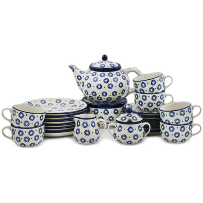 Polish Pottery Dessert Set for 6 with Heater 40 oz Aster Polka Dot
