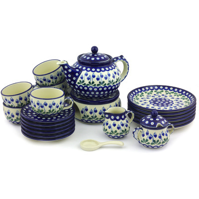 Polish Pottery Dessert Set for 6 with Heater 40 oz Bleeding Heart Peacock