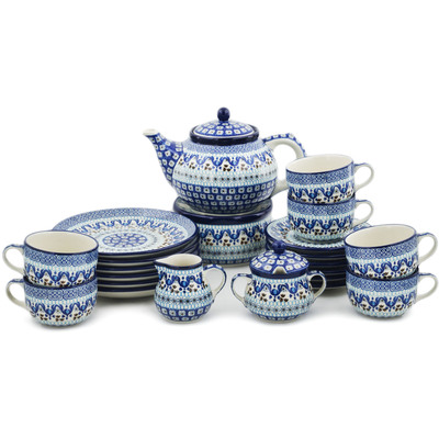 Polish Pottery Dessert Set for 6 with Heater 40 oz Blue Ice