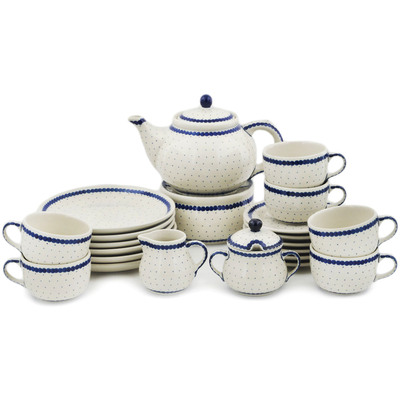 Polish Pottery Dessert Set for 6 with Heater 40 oz Blue Polka Dot