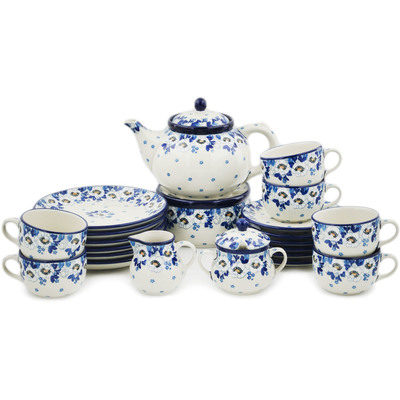 Polish Pottery Dessert Set for 6 with Heater 40 oz Blue Spring