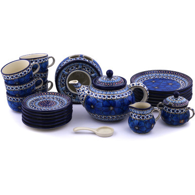 Polish Pottery Dessert Set for 6 with Heater 40 oz Cobalt Poppies UNIKAT