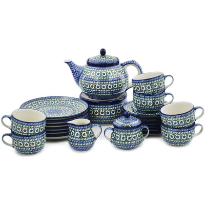 Polish Pottery Dessert Set for 6 with Heater 40 oz Daises And Tall Grass UNIKAT