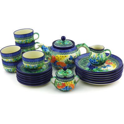 Polish Pottery Dessert Set for 6 with Heater 40 oz Garden Delight UNIKAT