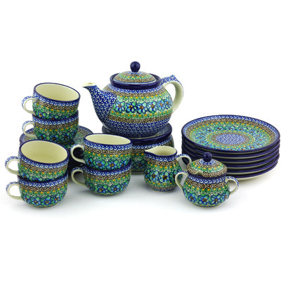 Polish Pottery Dessert Set for 6 with Heater 40 oz Mardi Gra UNIKAT