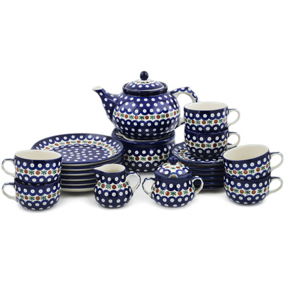 Polish Pottery Dessert Set for 6 with Heater 40 oz Mosquito