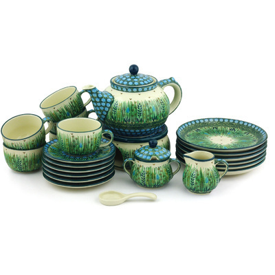 Polish Pottery Dessert Set for 6 with Heater 40 oz Prairie Land UNIKAT