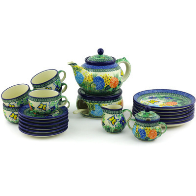 Polish Pottery Dessert Set for 6 with Heater 40 oz Spring Garden UNIKAT