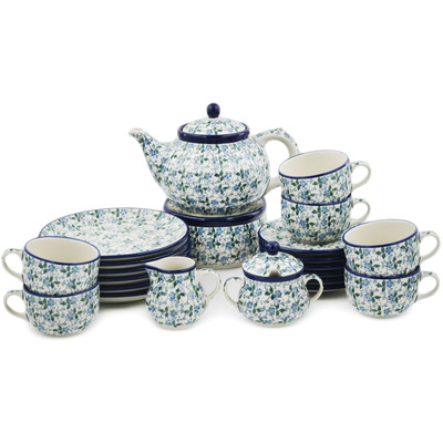 Polish Pottery Dessert Set for 6 with Heater 40 oz Summer Wind
