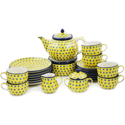 Polish Pottery Dessert Set for 6 with Heater 40 oz Sunshine