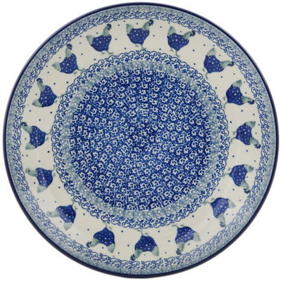 Polish Pottery Dinner Plate 10½-inch Blue Chicken