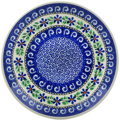Polish Pottery Dinner Plate 10½-inch Blue Daisy Swirls
