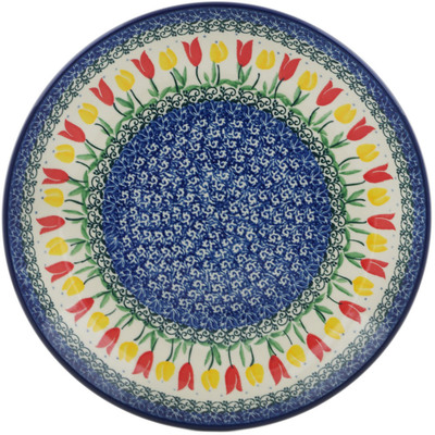 Polish Pottery Dinner Plate 10½-inch Spring Tulip Field