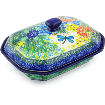 "Polish Pottery Dish with Cover 10"" Garden Delight UNIKAT"