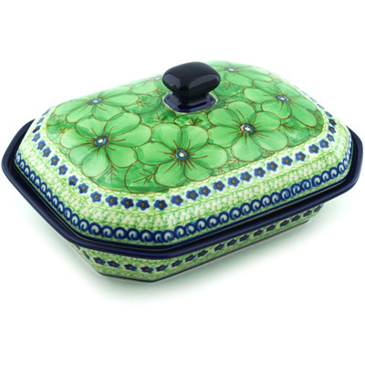 "Polish Pottery Dish with Cover 10"" Key Lime Dreams UNIKAT"