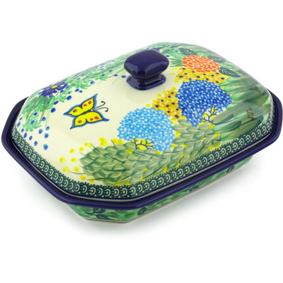 "Polish Pottery Dish with Cover 10"" Spring Garden UNIKAT"