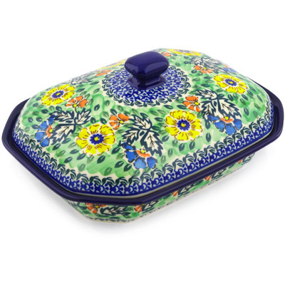 "Polish Pottery Dish with Cover 10"" Spring Serenade UNIKAT"
