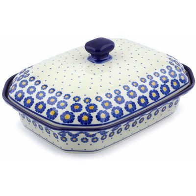 "Polish Pottery Dish with Cover 12"" Blue Zinnia"