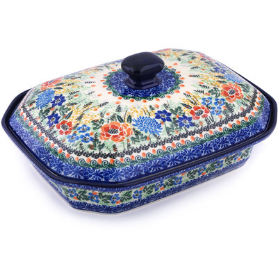 "Polish Pottery Dish with Cover 12"" Fiddle Meadow UNIKAT"