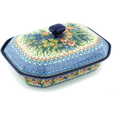 "Polish Pottery Dish with Cover 12"" Hummingbird Meadow UNIKAT"