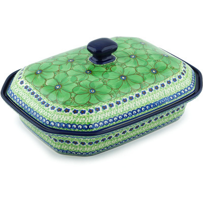 "Polish Pottery Dish with Cover 12"" Key Lime Dreams UNIKAT"