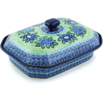 "Polish Pottery Dish with Cover 12"" Shades Of Blue UNIKAT"