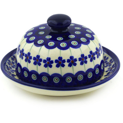 "Polish Pottery Dish with Cover 5"" Flowering Peacock"